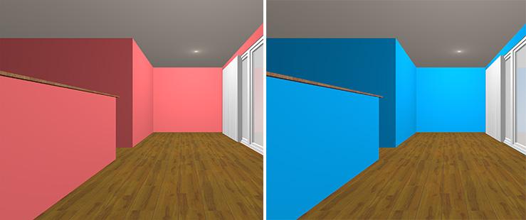 暖色の壁紙クロスと寒色の壁紙クロスの部屋