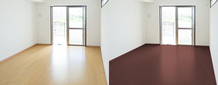 明るい茶色のフローリングの部屋と暗いフローリングの部屋