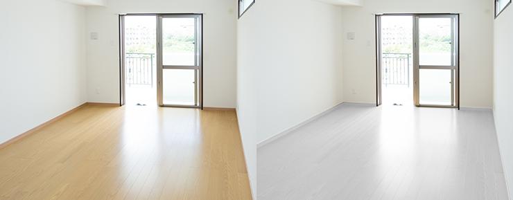 明るい茶色のフローリングの部屋とグレーのフローリングの部屋