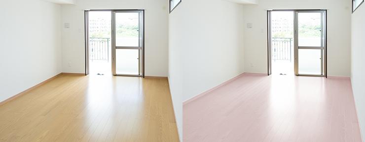 中間の茶色のフローリングの部屋と薄い茶色(明るい茶色)のフローリングの部屋