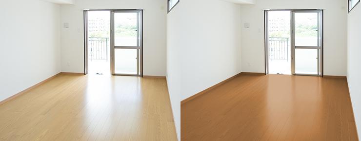 薄い(明るい)茶色のフローリングの部屋と中間の茶色のフローリング
