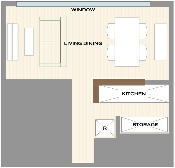 横長リビングの家具レイアウト1