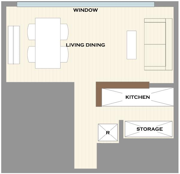 横長リビングの家具レイアウト11