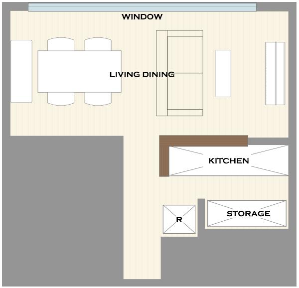 横長リビングの家具レイアウト13