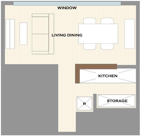 横長リビングの家具レイアウト例2