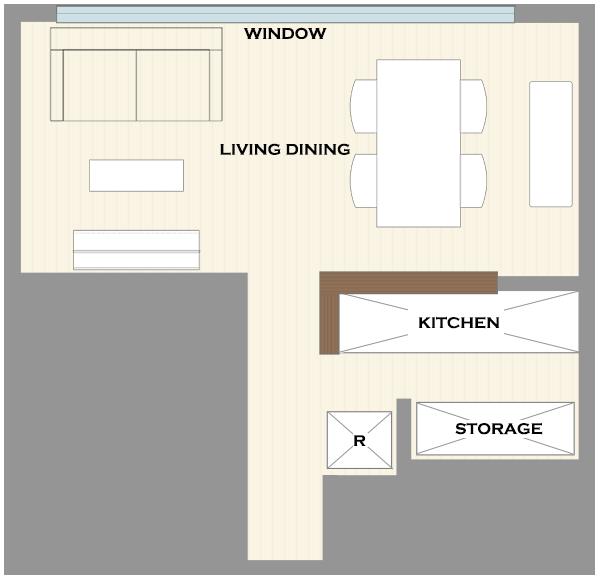 横長リビングの家具レイアウト3