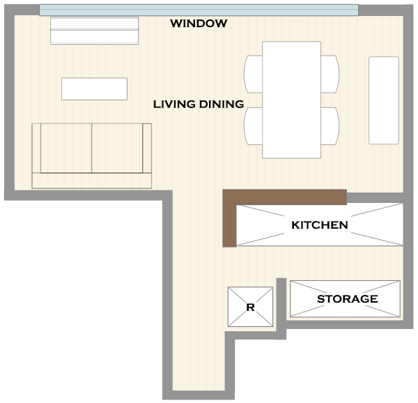 横長リビングの家具レイアウト4
