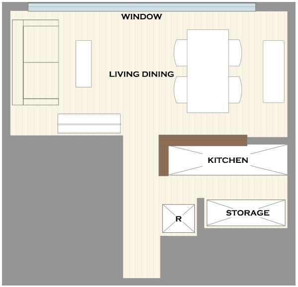 横長リビングの家具レイアウト5