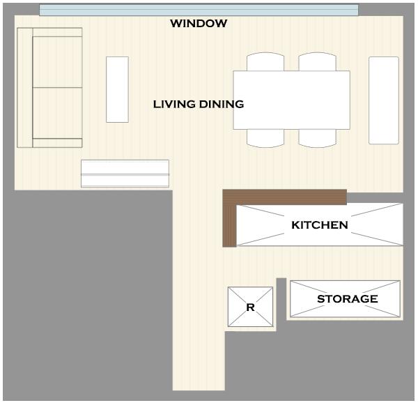 横長リビングの家具レイアウト6