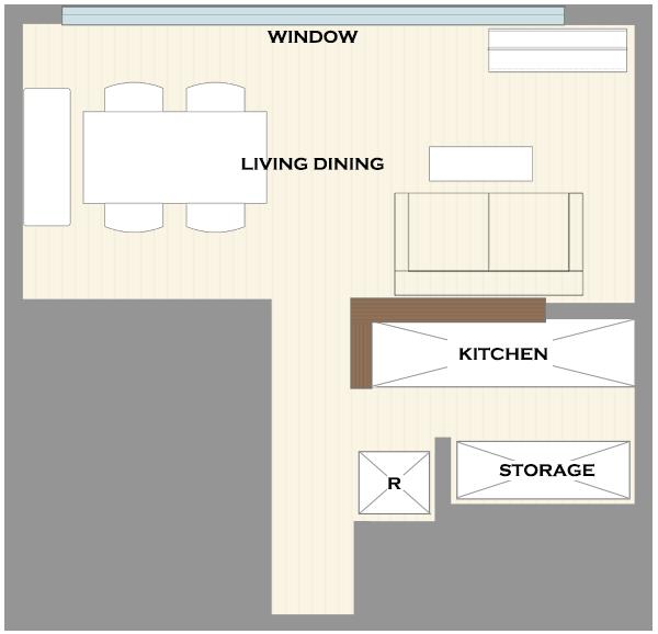横長リビングの家具レイアウト9