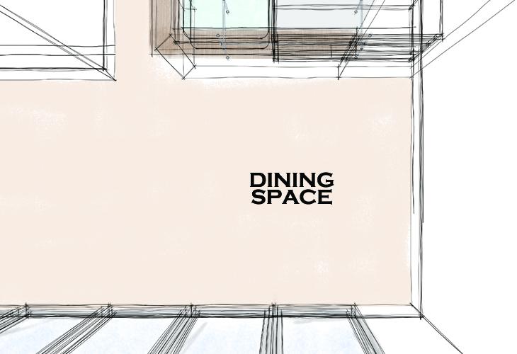 カウンターキッチン前のダイニングスペース