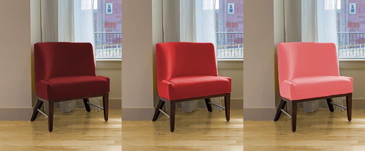 明るい茶色と3種類の赤の組み合わせ比較