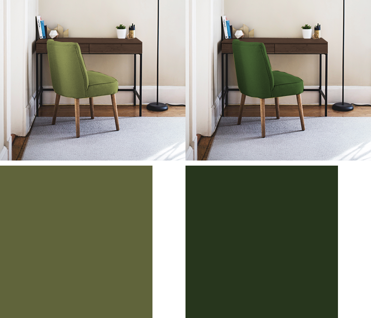 ダークブラウンの家具と彩度や明度が低い黄緑