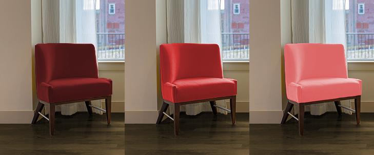 暗い茶色と3種類の赤の組み合わせ比較