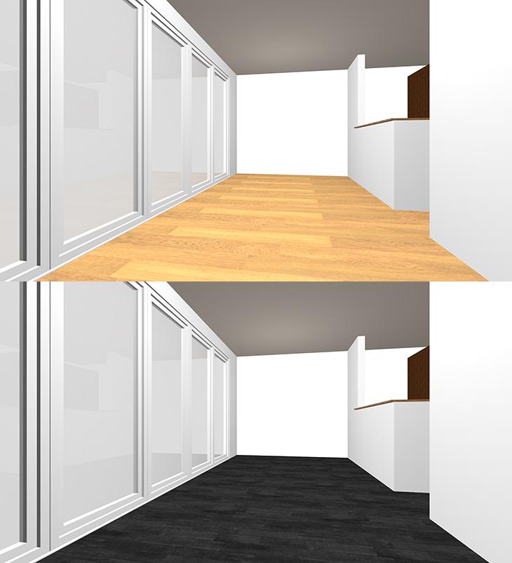 明るい茶色の床と黒の床