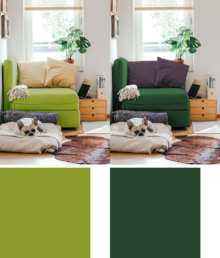 黄緑と緑のソファ