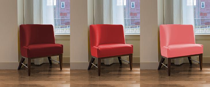 中間の茶色と3種類の赤の組み合わせ比較