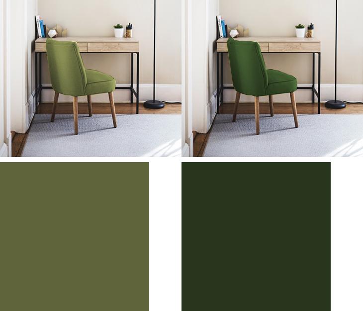 明るい茶色の家具と暗い黄緑と緑