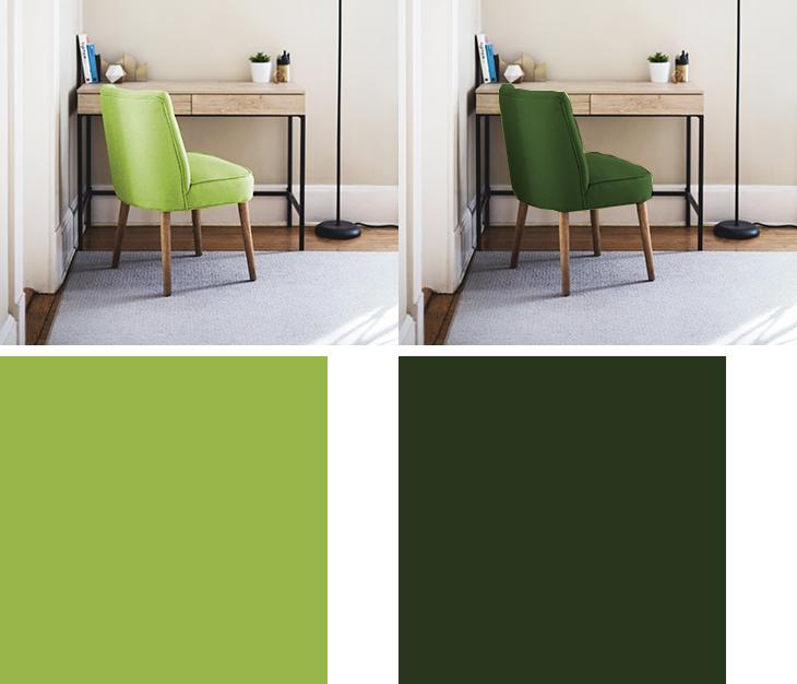 明るい茶色の木製デスクと黄緑のチェアと緑のチェア比較