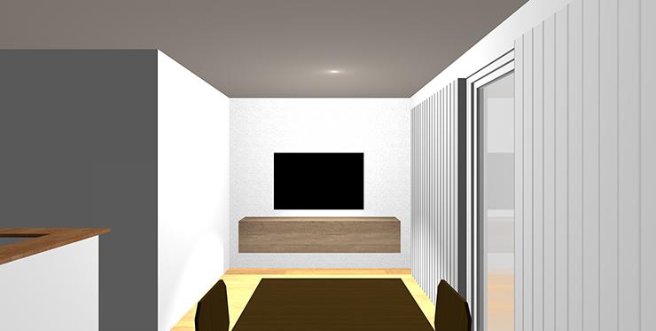 ホワイトの壁と木目の家具