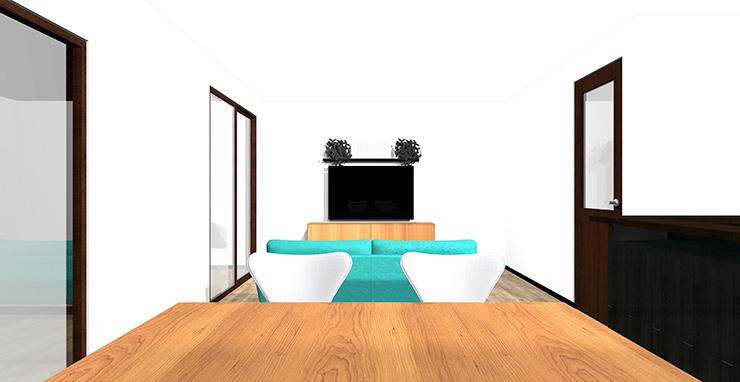 3面の壁がホワイト系のリビングに木目のテレビボード