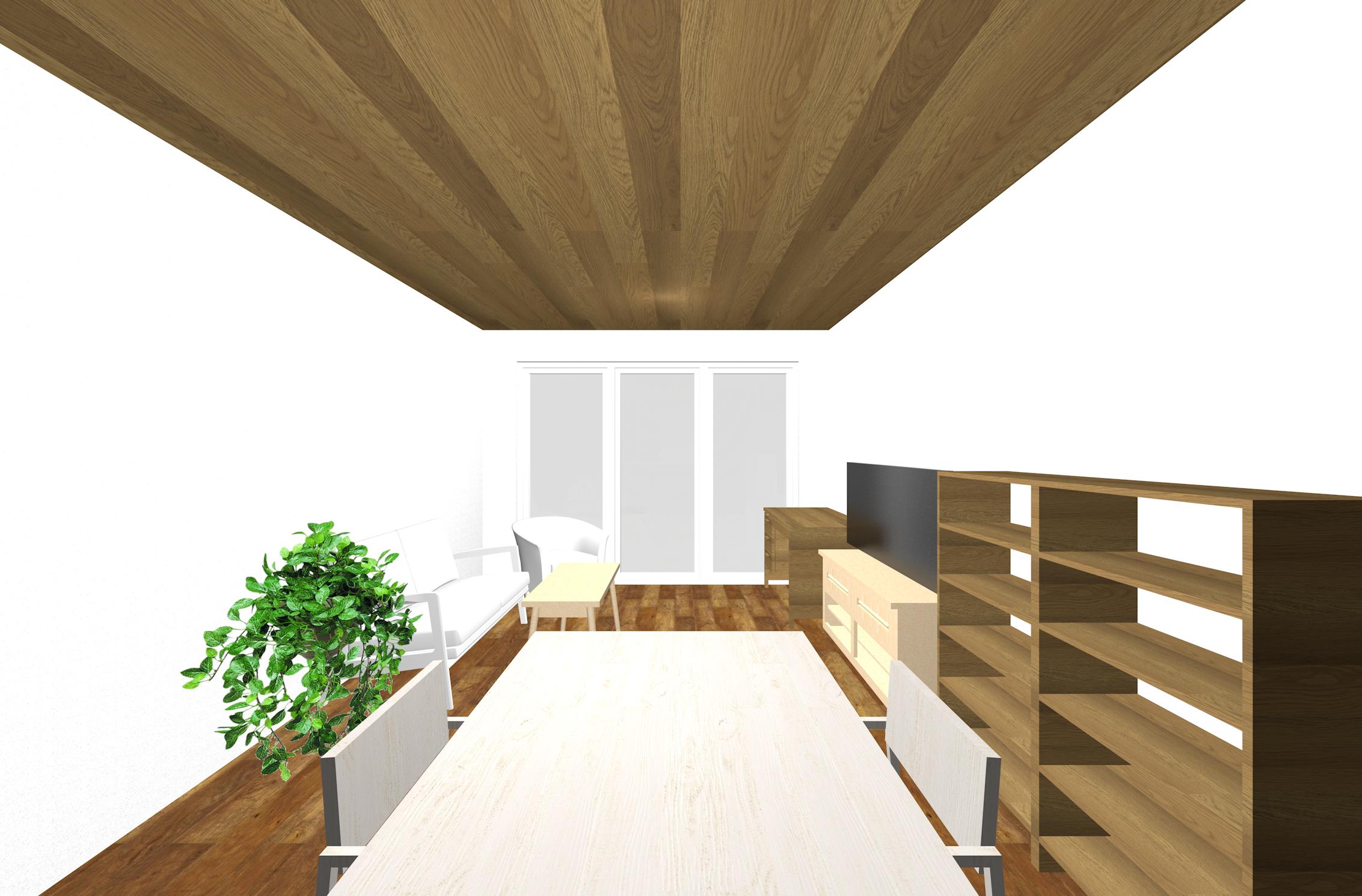 多くの家具を壁面を中心にレイアウトしたLDKのパース②
