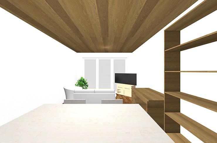 多くの家具を壁面を中心にレイアウトしたLDKのパース①