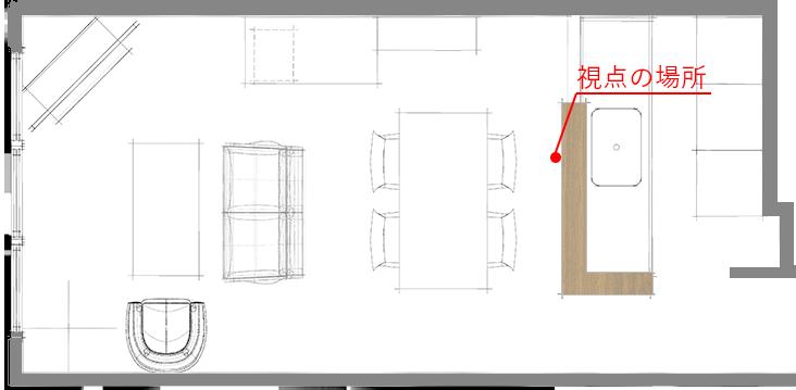 多くの家具を壁面を中心にレイアウトしたLDK