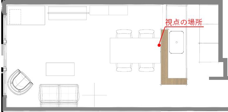 多くの家具を広空間を意識してレイアウトしたLDK