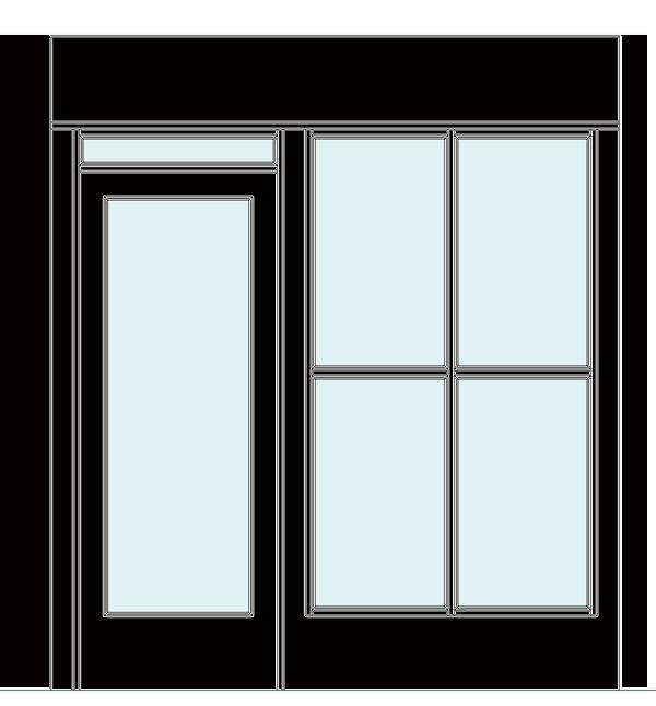 黒縁ドアと間仕切りイメージ