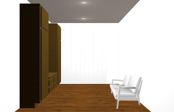 暗くて背の高い家具を置いた部屋
