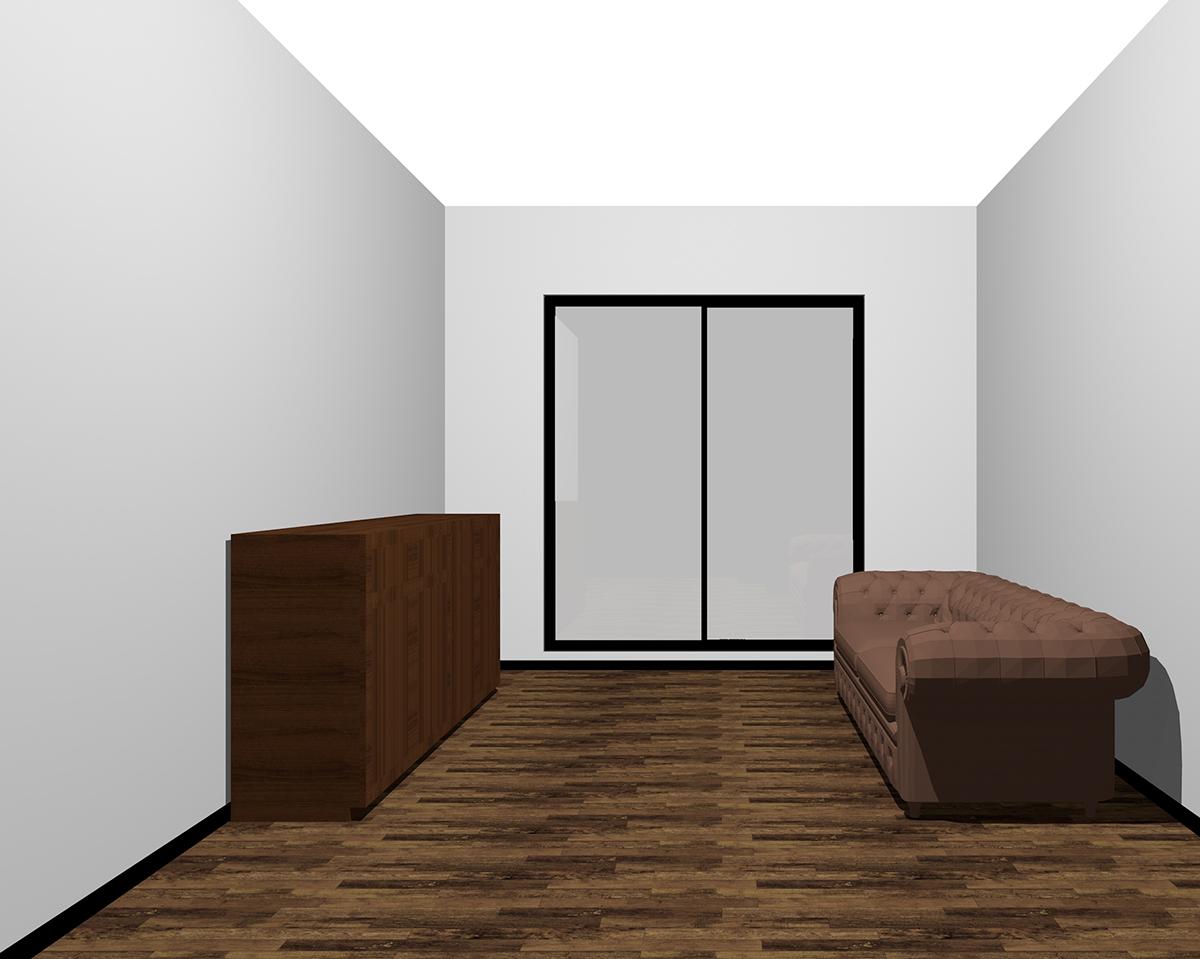 暗い背の低い家具を置いた部屋