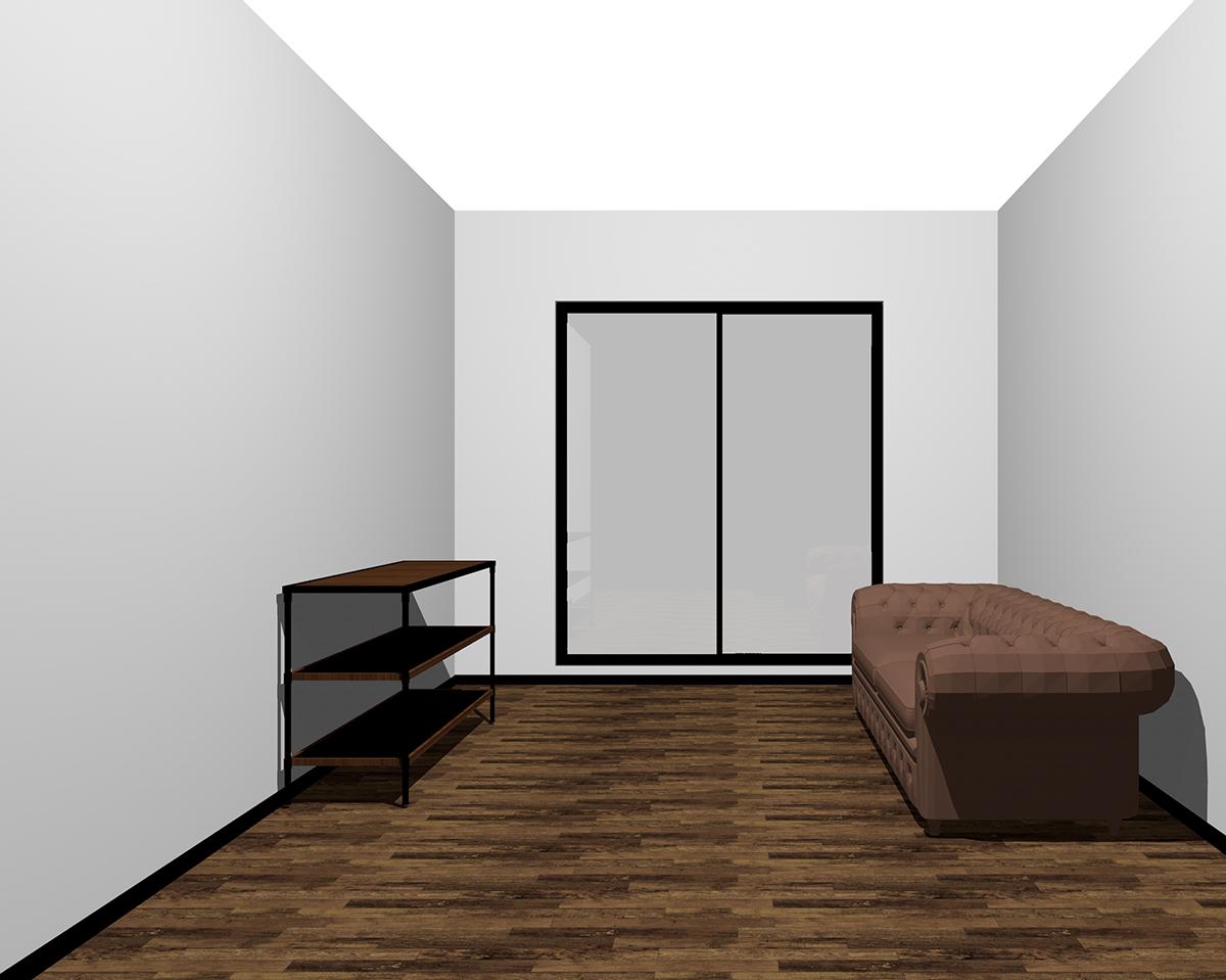 背が低く暗くて華奢な家具を置いた部屋