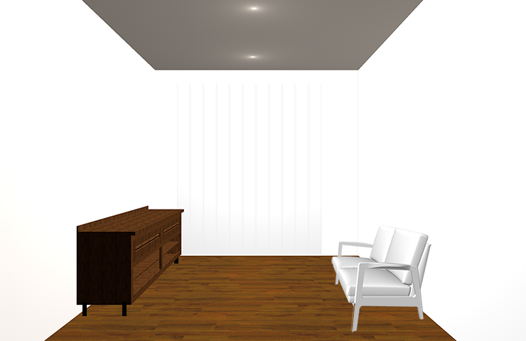 背の低い華奢なデザインの家具を置いた部屋