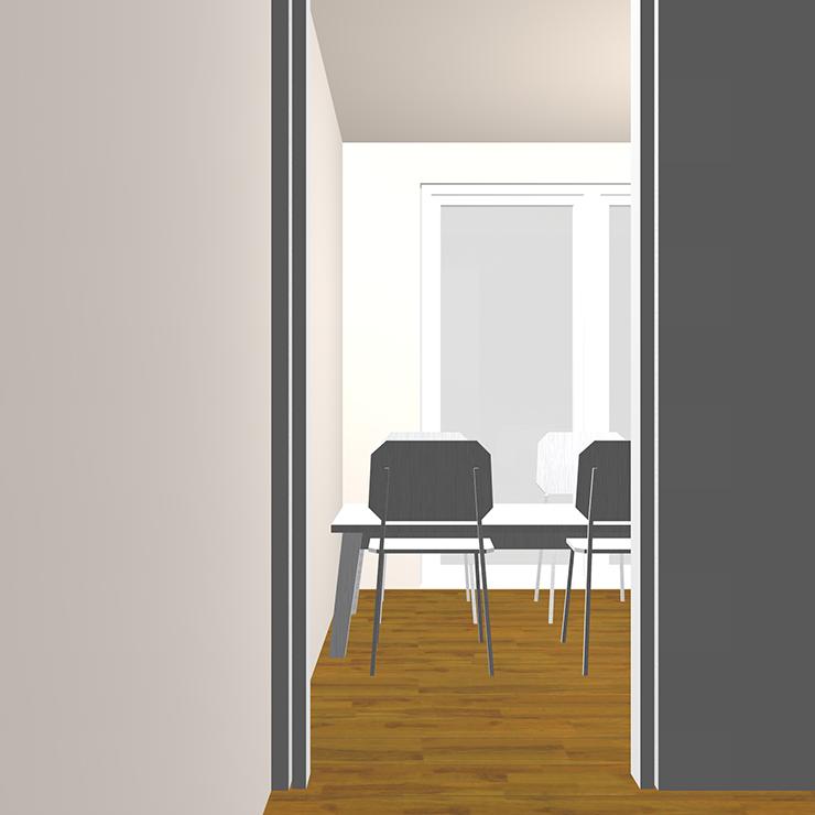 ドア(開口)と家具の関係パース①