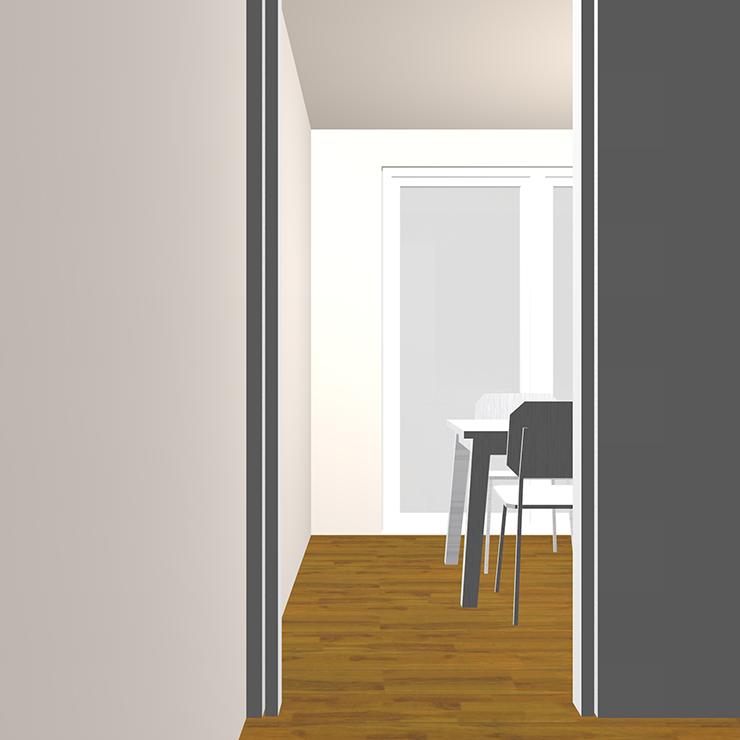 ドア(開口)と家具の関係パース②