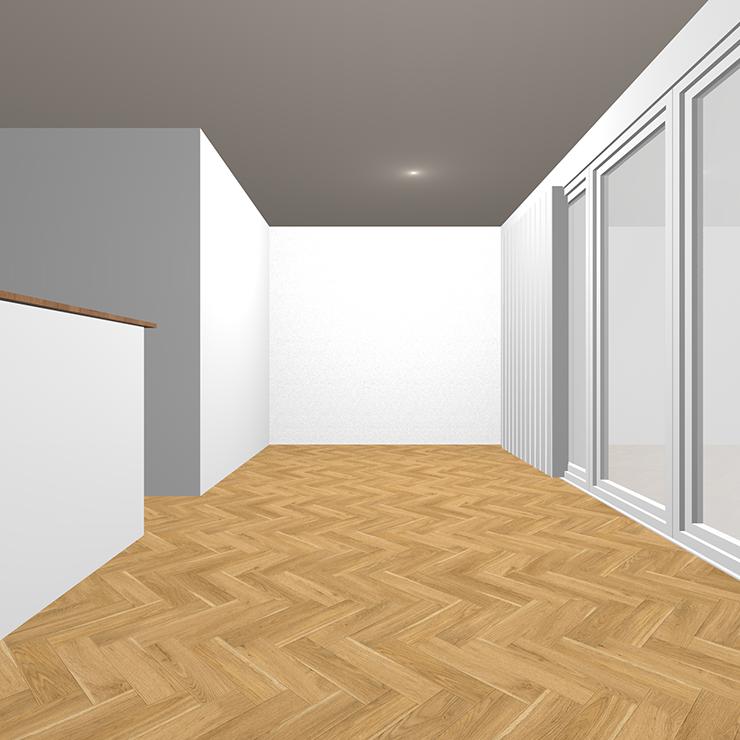 明るい茶色のヘリンボーンの床のLDK