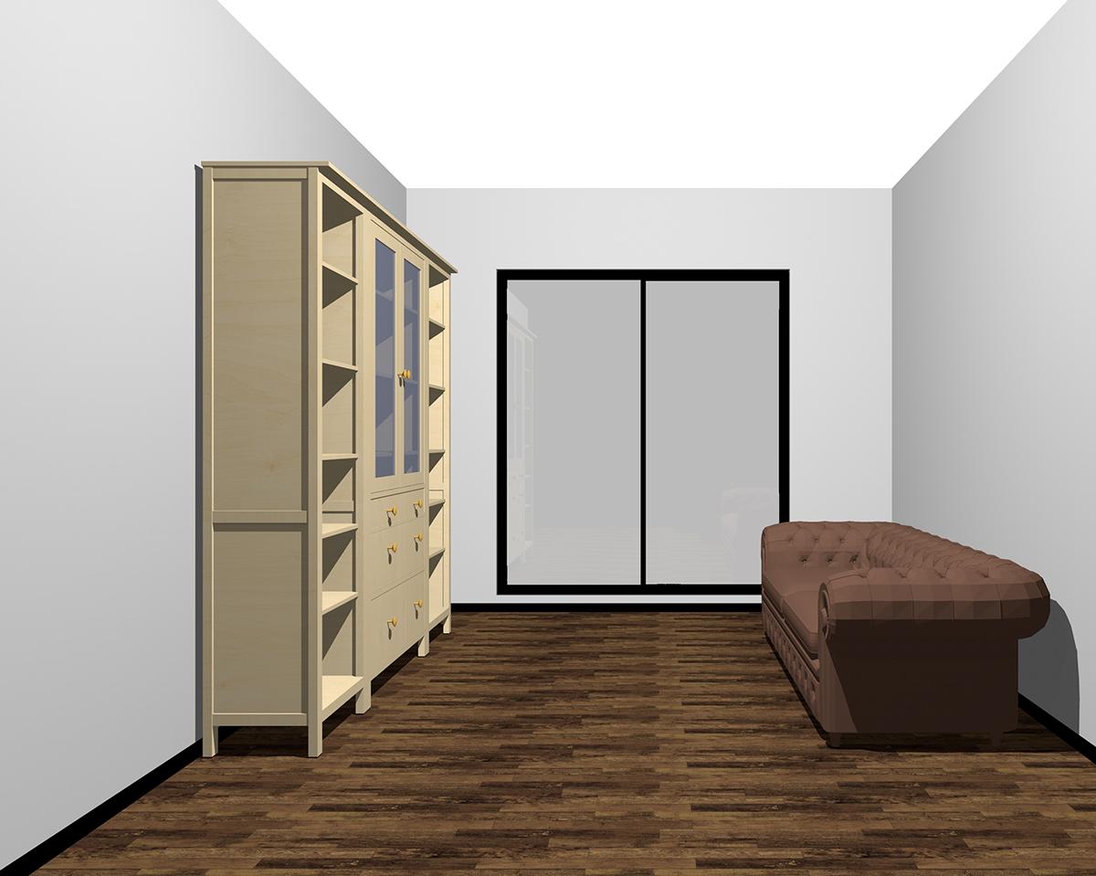 明るく背の高い家具を置いた部屋