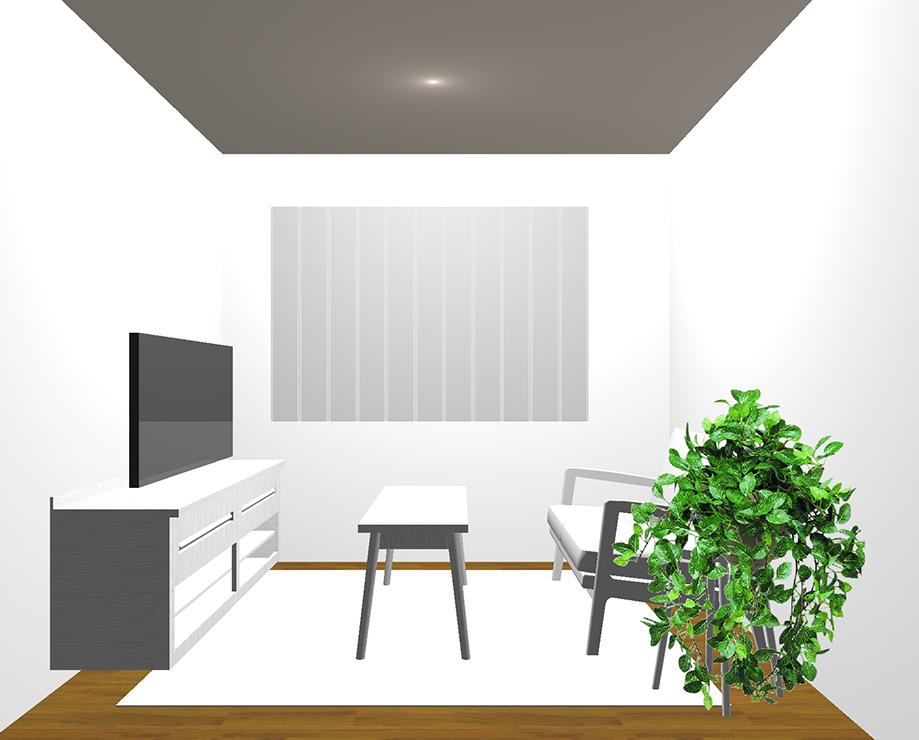中間の茶色の床×明るいグレー