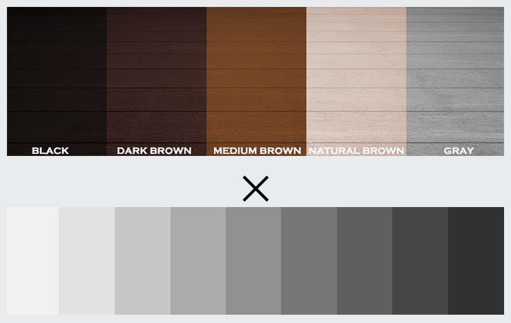 5種類の床の色と3種類のグレー