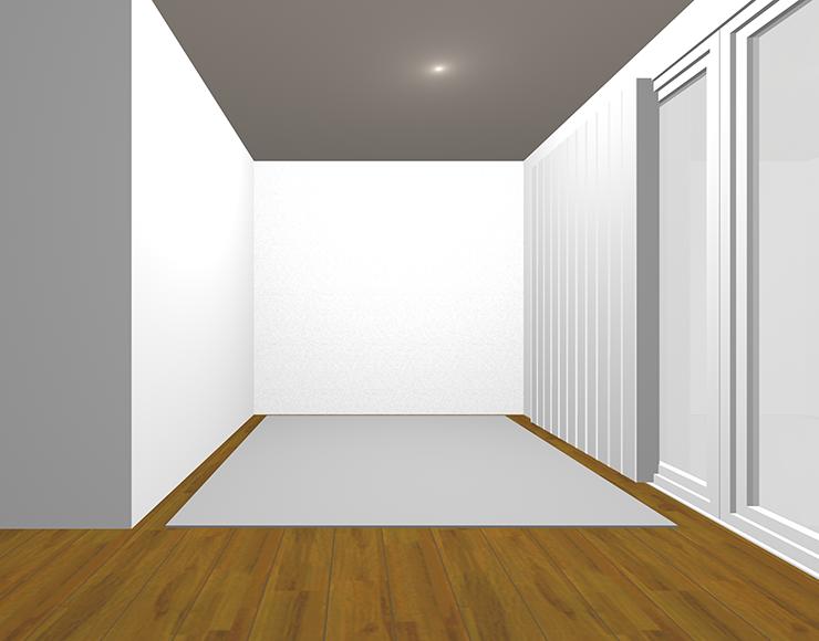 中間の茶色の床で冷たい印象