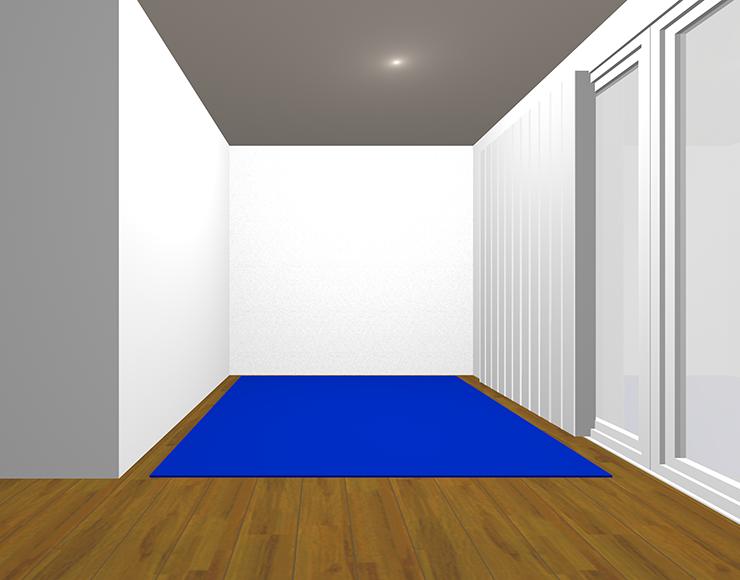 中間の茶色の床と寒色のラグ
