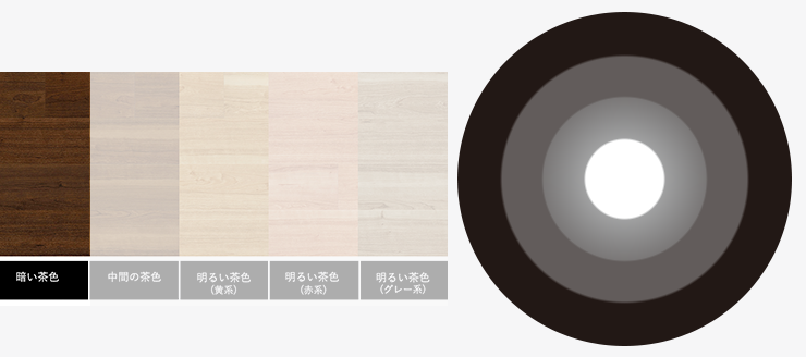 暗い茶色の床と無彩色のラグ