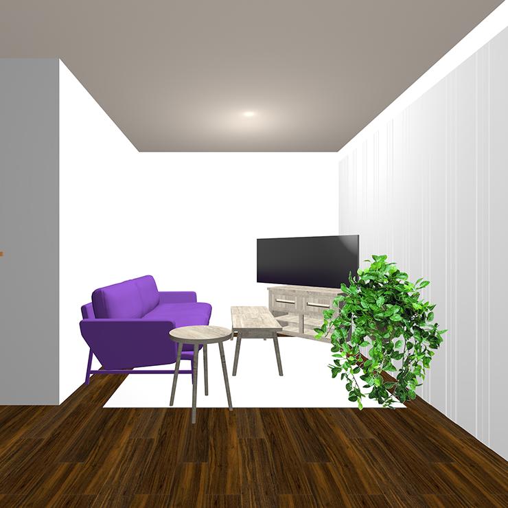 ダークブラウンの床と紫