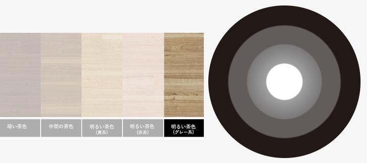 明るい茶色(グレー系)の床と無彩色