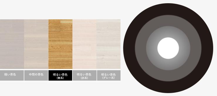 明るい茶色(黄系)の床と無彩色