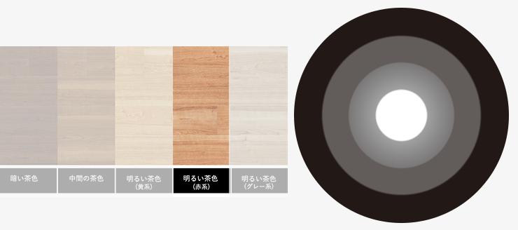 明るい茶色(赤系)の床と無彩色