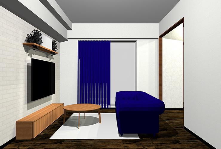 ダークブラウンの床と青