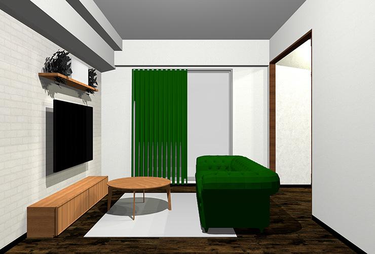ダークブラウンの床と緑