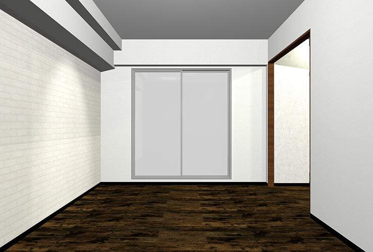 ダークブラウンの床の部屋